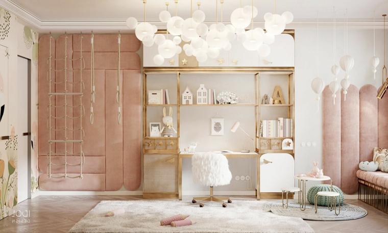 lampadario scrivania colore pareti beige chiaro cameretta ragazze decorazioni