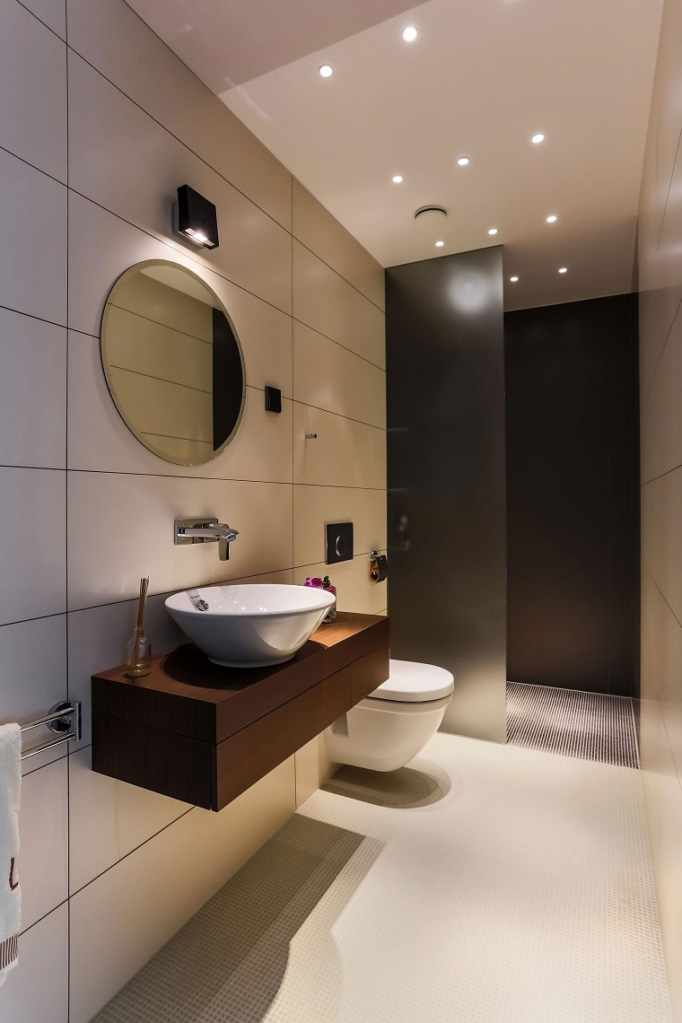 mobili bagno moderno legno specchio rotondo