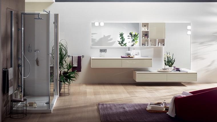 mobili bagno moderno tonalita chiare pavimento legno