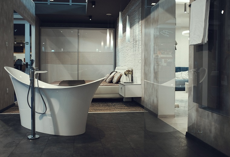 mobili bagno moderno vasca forma particolare