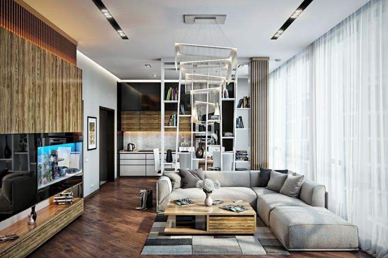 mobili design industriale tavolino legno divano grigio