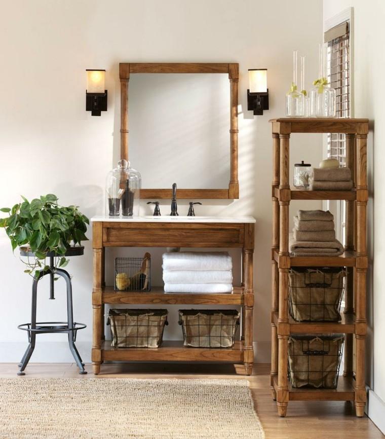 mobili legno bagno arredato stile rustico pianta verde