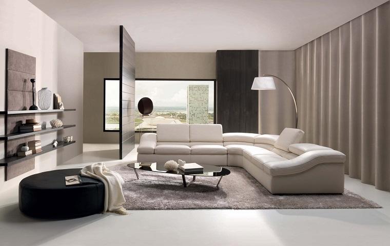 mobili moderni idea soggiorno divano bianco