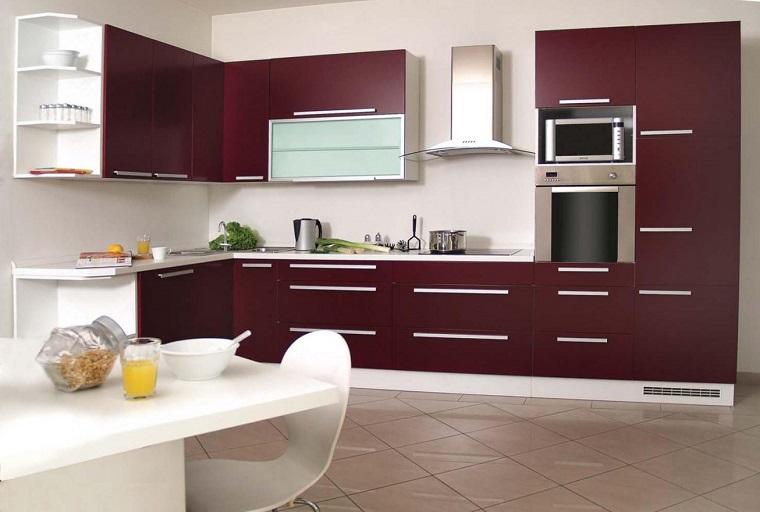 mobili moderni proposta cucina bordeaux