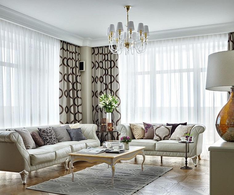 mobili stile classico arredo salotto tende