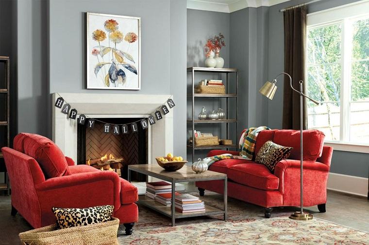 mobili stile contemporaneo soggiorno divani colore rosso halloween