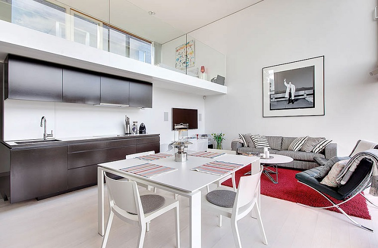 monolocale con soppalco design elegante cucina