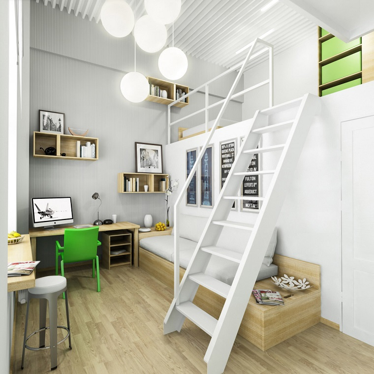 monolocale con soppalco idea mobili legno lampadario