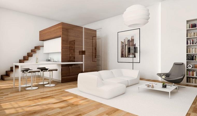 monolocale con soppalco proposta pavimento legno