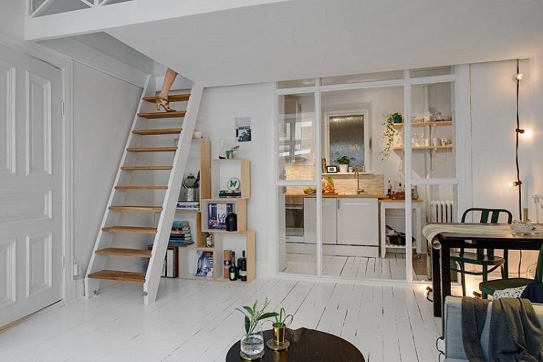 monolocale con soppalco stile scandinavo design