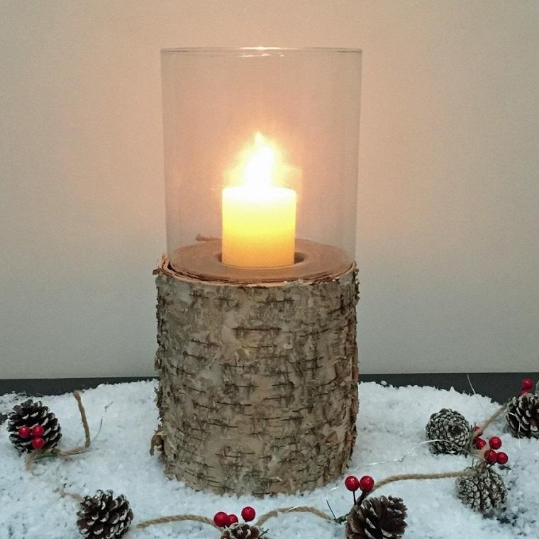 natale shabby chic candela supporto rustico