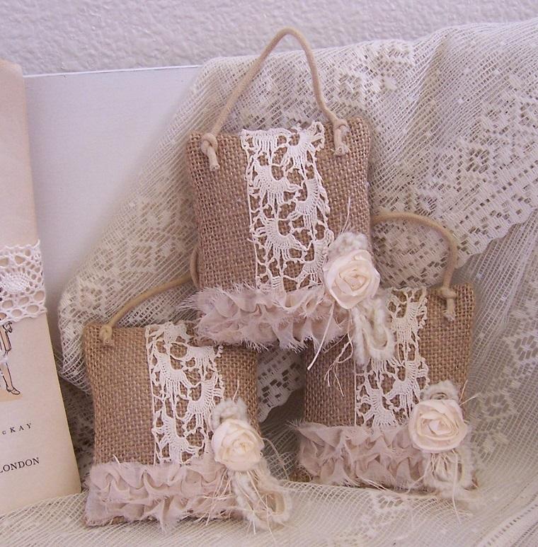 natale shabby chic sacchettini decorati mano