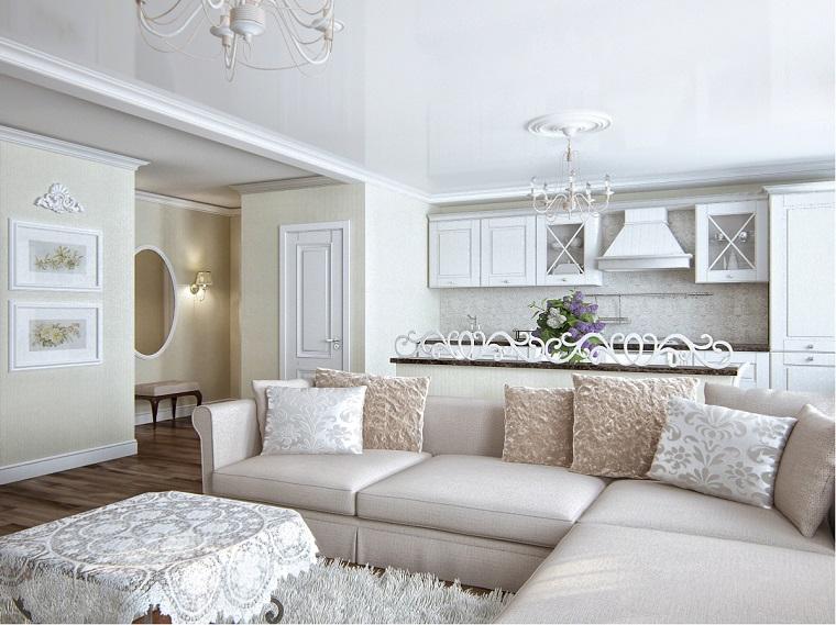 open space arredato stile classico mobili colore chiaro