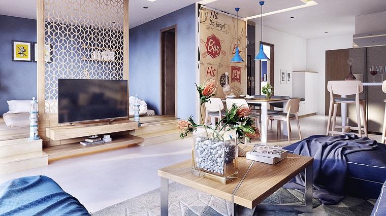 open space arredato stile eclettico parete divisoria design