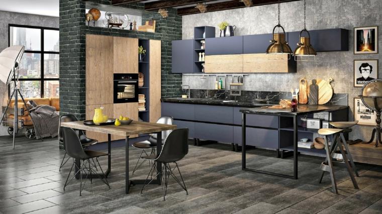 open space con sala da pranzo e cucina arredamento misto moderno e antico