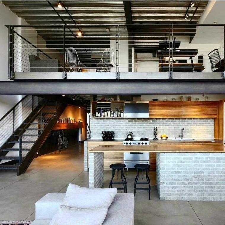 open space con soppalco cucina con isola prolungata cucine industriali per la casa