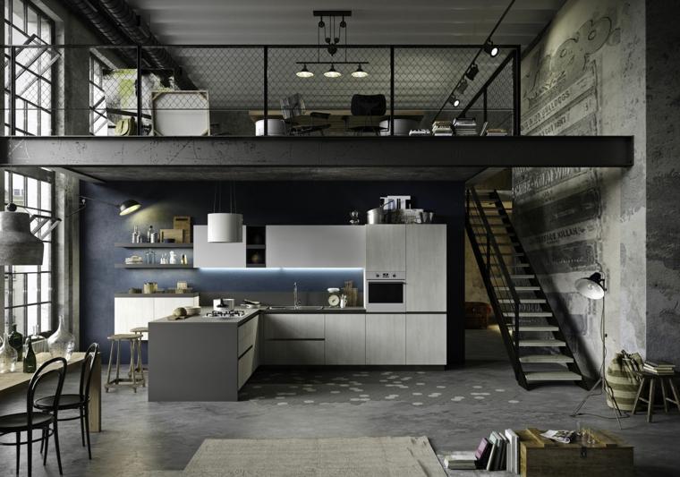 open space con soppalco prolungamento isola laterale cucina stile industriale bianca