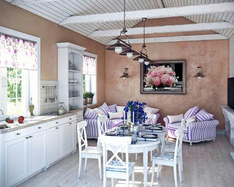 open space cucina e sala da pranzo soggiorno pareti dipinte colore rosso