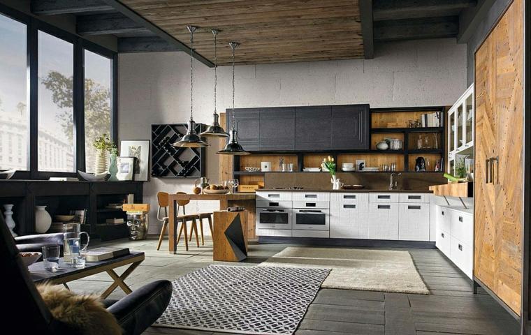 open space cucina e soggiorno arredamento mobili stile industrial pavimento con tappeti