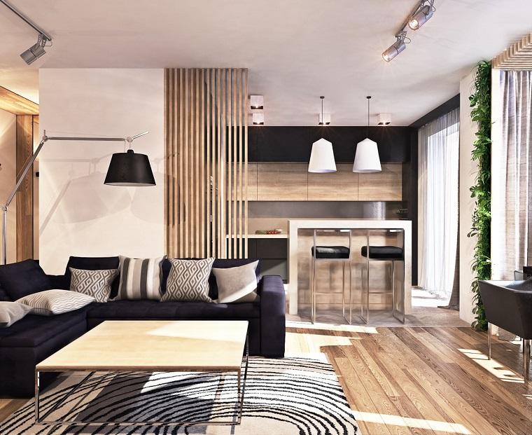 open space moderno dettagli legno naturale