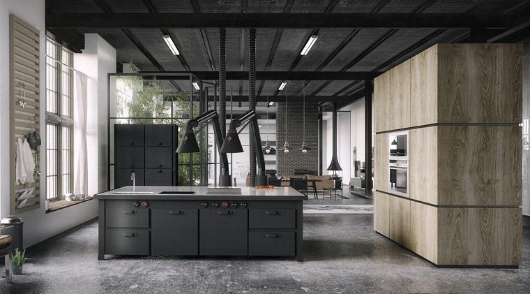 open space moderno dettagli stile industriale
