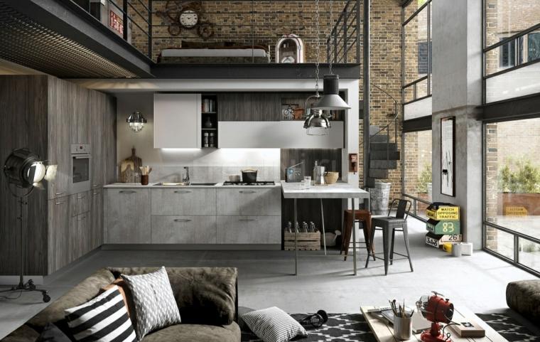 open space soggiorno e cucina ad angolo con prolungamento isola laterale