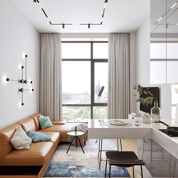 open space soggiorno e cucina cucina componibile ad angolo isola come tavolo da pranzo