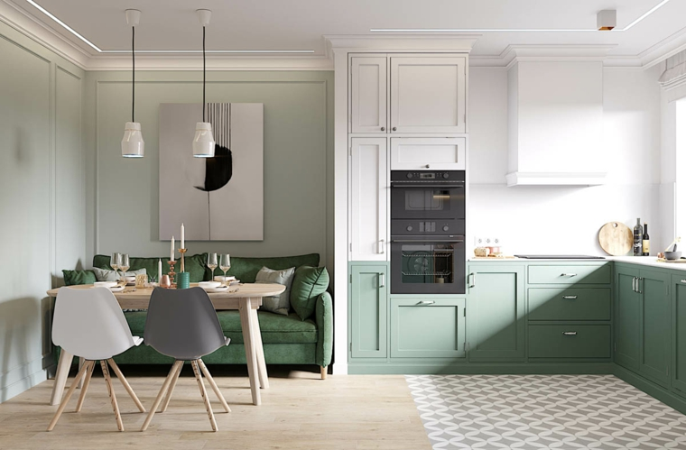 open space soggiorno e cucina mobili in legno di colore verde salvia pavimento combinato piastrelle legno