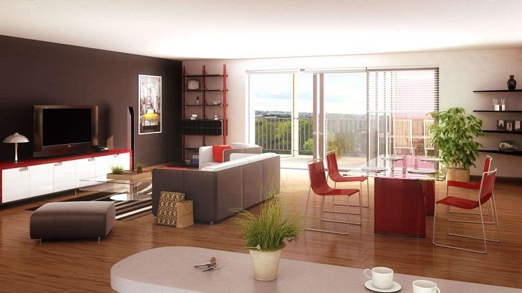 open space stile moderno accenti rosso
