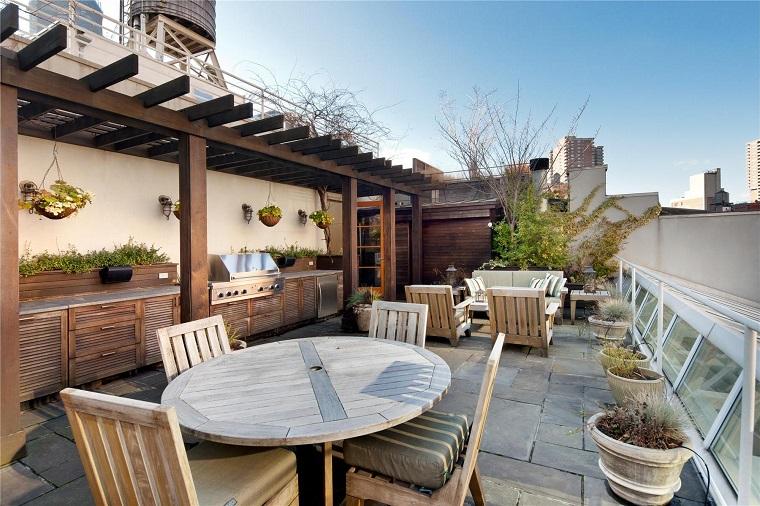outdoor spazioso cucina esterna mobili legno