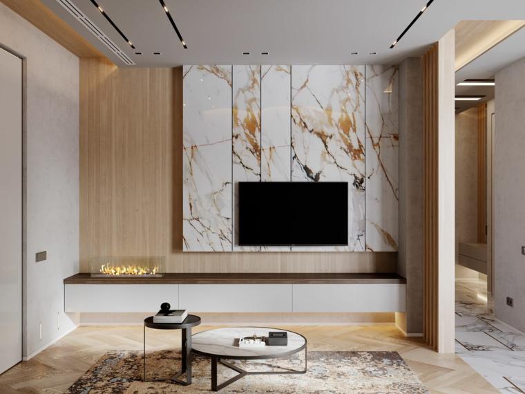 pannello effetto marmo tv soggiorno tavolino faretti pavimento legno parquet