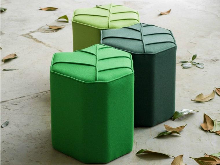 pantone verde idea tre pouf forma esagonale