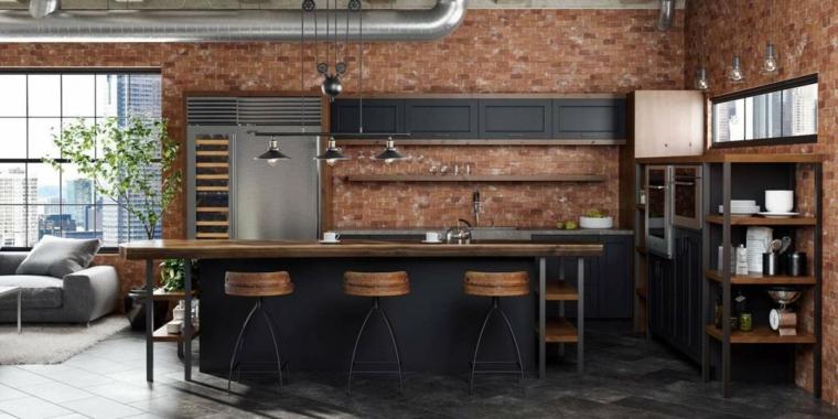 parete con mattoni a vista cucina stile industriale fai da te isola con sgabelli alti