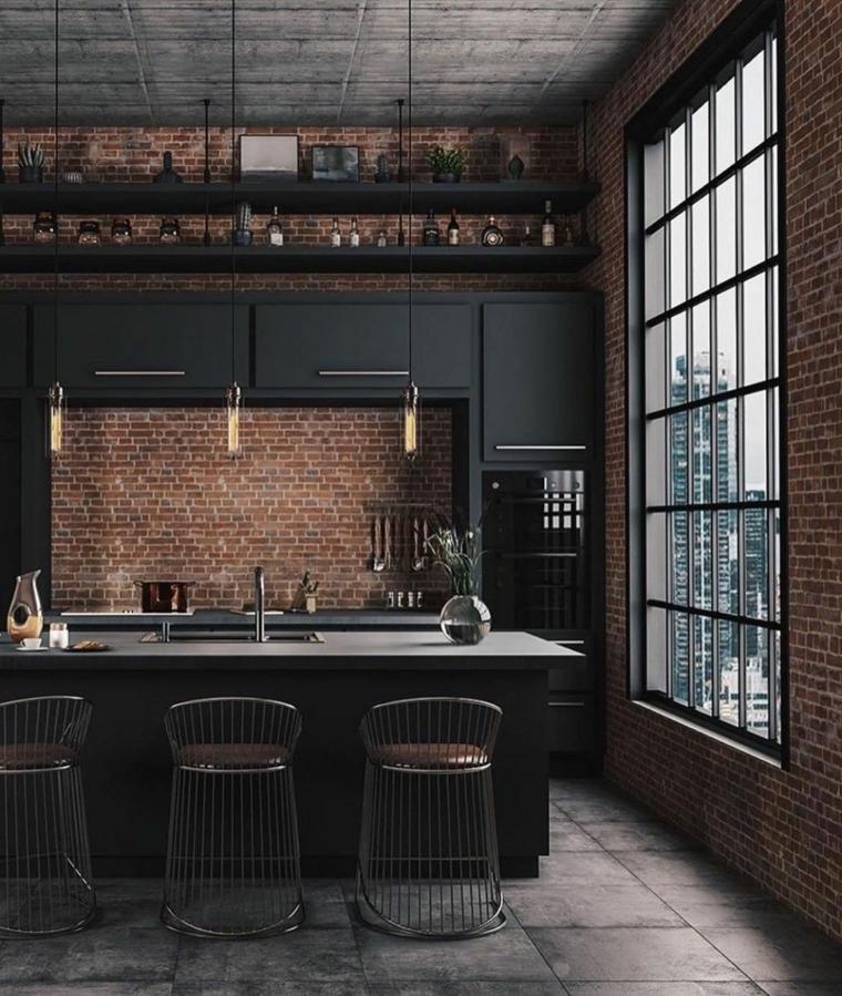 parete con mattoni a vista isola con lavandino cucina industrial style
