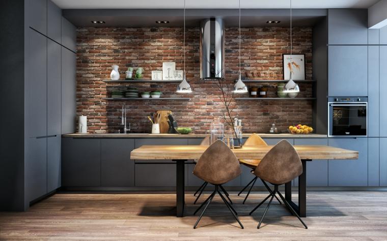 parete con mattoni a vista tavolo da pranzo in legno arredamento urban industrial