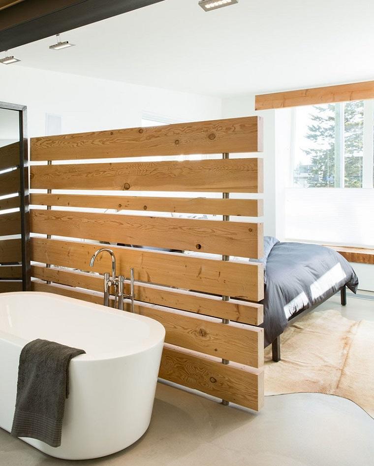parete dividere spazio legno zona notte bagno design