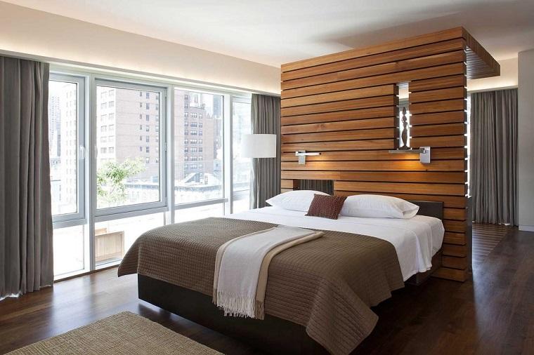 parete divisoria in legno idea camera letto