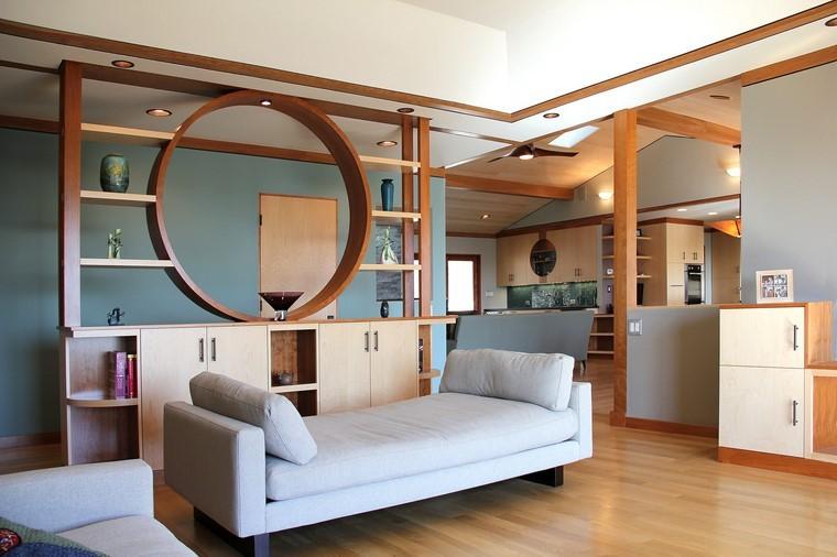 parete divisoria in legno idea originale soggiorno design