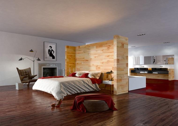 parete divisoria in legno soluzione colore chiaro design