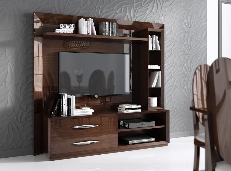 pareti attrezzate stile classico legno laccato