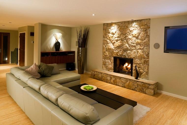 pareti beige living design minimal