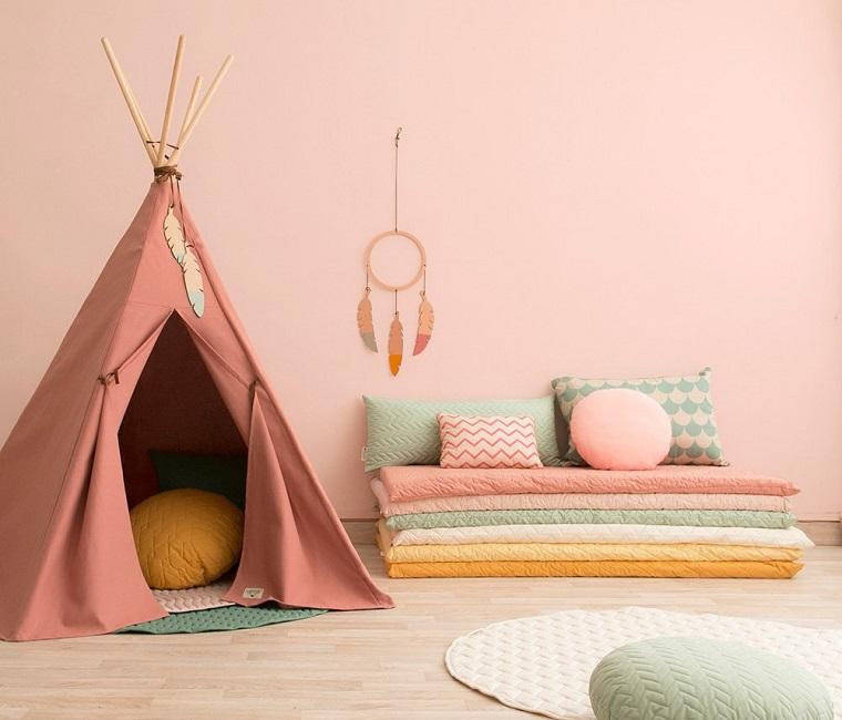 pareti camerette idea color rosa