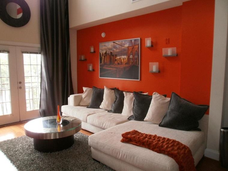 pareti decorate soggiorno proposta arancio scuro