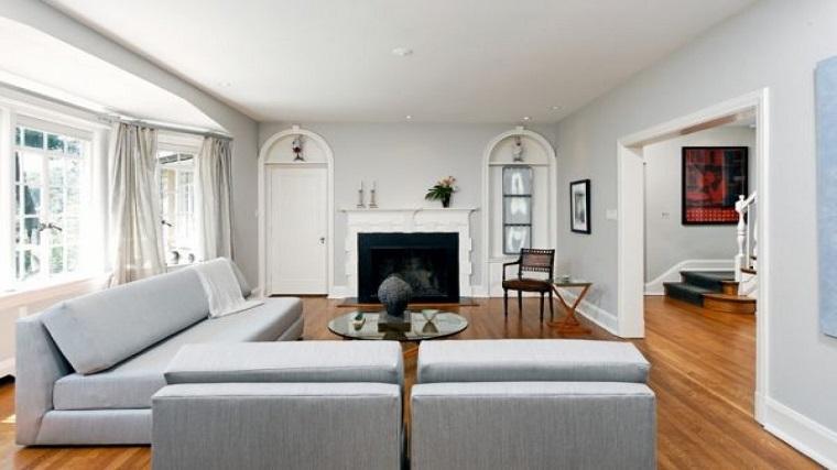 pareti decorate soggiorno proposta grigio chiaro