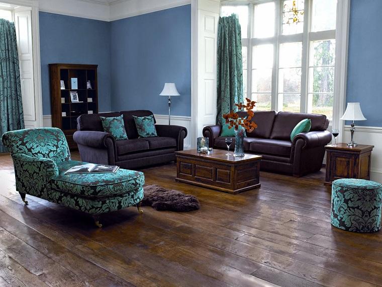 pareti decorate soggiorno soluzione azzurro cielo