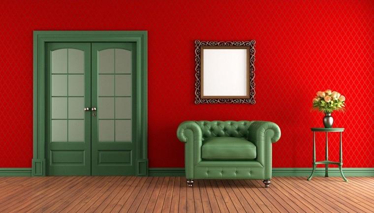 pareti decorate soggiorno soluzione vivace rosso