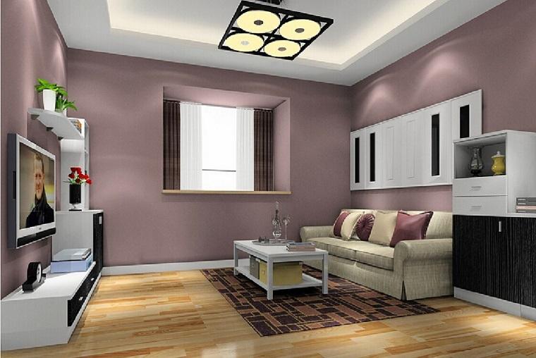 pareti decorate soggiorno tonalita viola