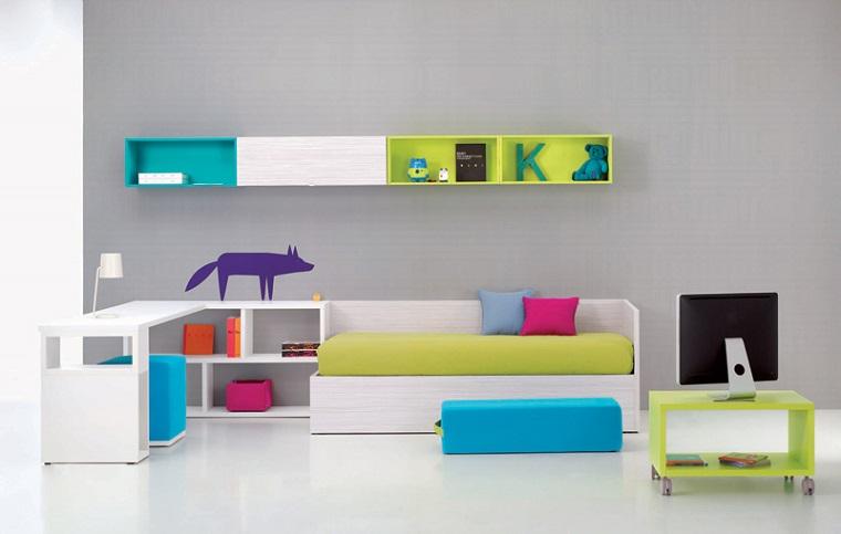pareti grigio mobili stile minimal mensole legno