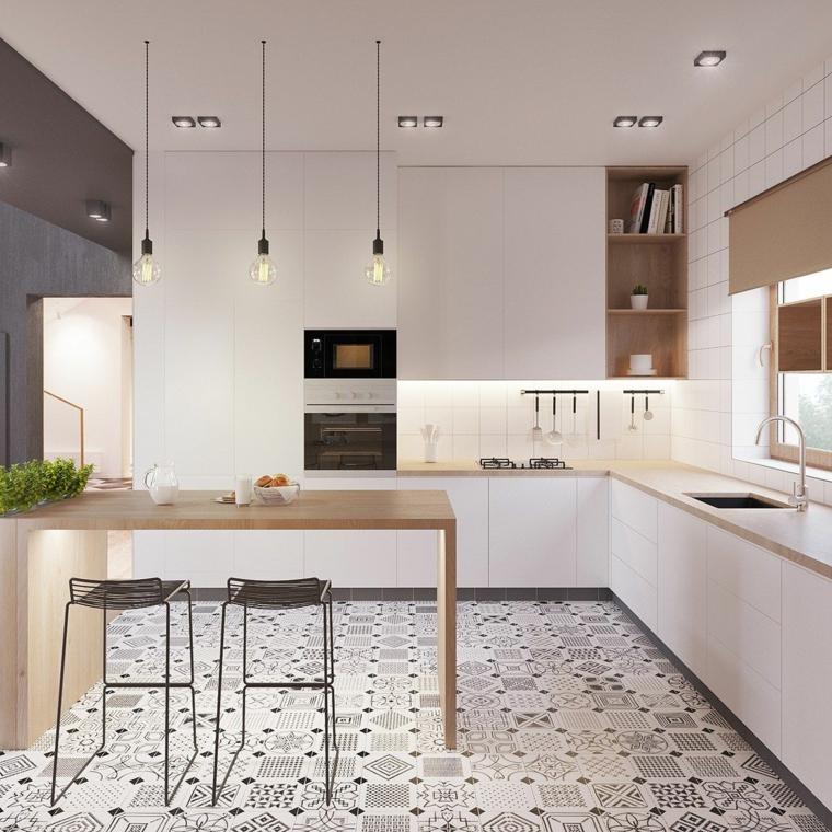 pavimento in piastrelle colorate cucine piccole ad angolo con isola