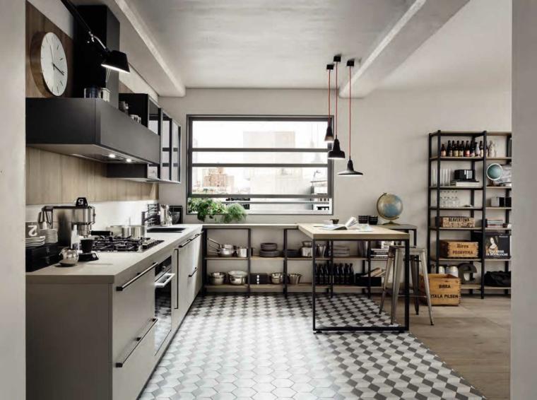 pavimento piastrelle a scacchi prolungamento isola come tavolo da pranzo arredamento loft industriale